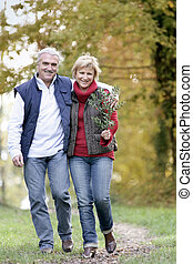 Couple taking leisurely walk