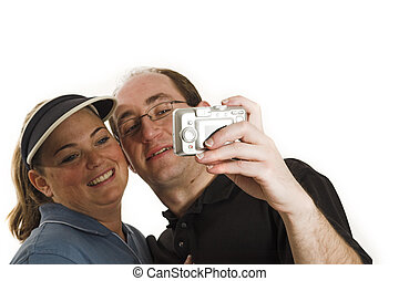 couple taking pictures close up