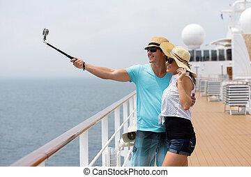 couple taking self portrait on cruise - adorable couple...