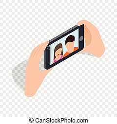 Couple taking selfy of themselves isometric icon