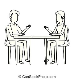 couple talking at table