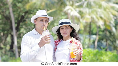 Couple Talking Drink Juice Under Palm Trees, Happy Man And...