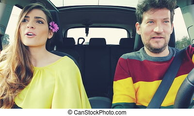 Couple talking in car vintage color correction
