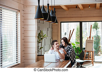 couple talking in living room
