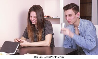Couple talking on the internet