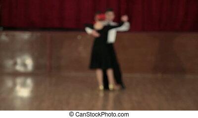 Couple Tango Dancing - boy and girl of 9 years dancing the...