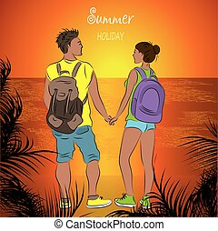 Couple tanned tourists with backpacks at sunset on the beach