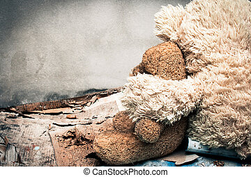 Couple teddy bear abandoned piles of paper,vintage tone