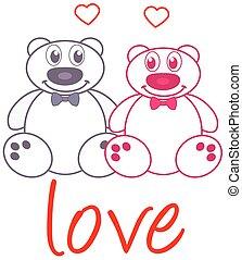 couple teddy bear with bow tie