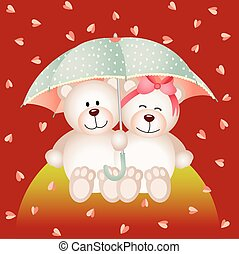 Couple teddy bear with umbrella