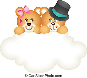 Couple teddy bears on the cloud