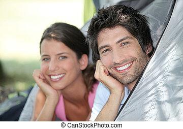 couple, tente