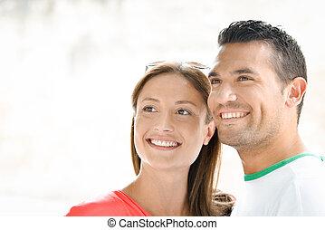couple, tenu, ensemble, heureux