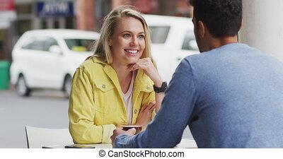 couple, terrasse, apprécier, caucasien, café