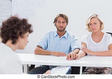 couple, thérapeute, aide, essayer