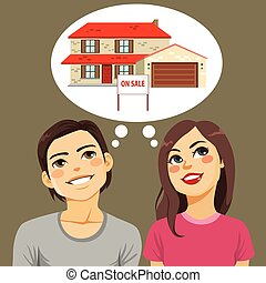 Couple Thinking House