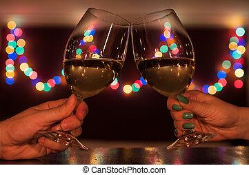 Couple toasting on romantic dinner