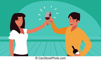 couple toasting with wine cups characters
