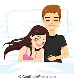 Couple Top View Bed - Top view illustration of couple happy...