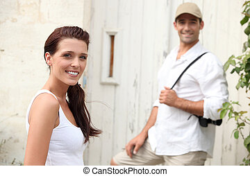 Couple touring a village