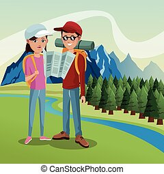 couple tourist hiking map river landscape background