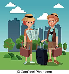 couple tourist map luggage camera hat green field city background