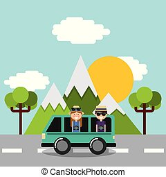 couple tourist vacations in car van on road mountains tree