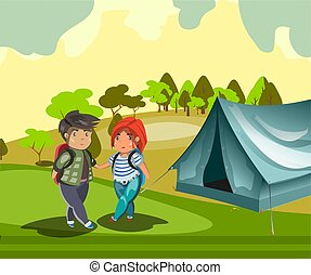 Couple tourist with tent.