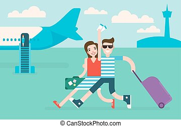 Couple tourists traveling by airplane
