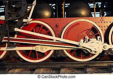 couple, train, roues, vapeur