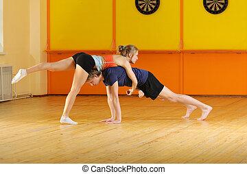 Couple training acrobatics