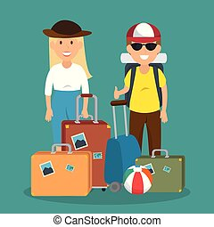 couple travelers with suitcases characters