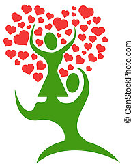 couple tree with loving hearts