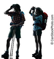 couple trekker silhouette Photographing