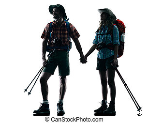 couple trekker trekking nature silhouette