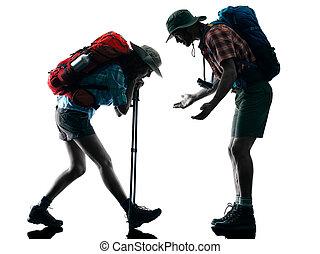 couple trekker trekking tired silhouette