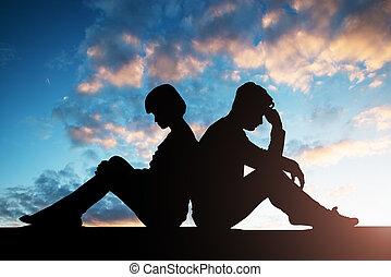 couple, triste, silhouette, dos, séance