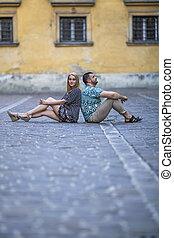 couple, trottoir, séance