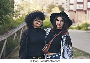 couple urban fashion girls