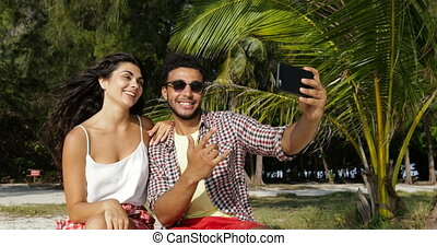 Couple Using Cell Smart Phone Take Selfie Photo Outdoors...