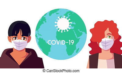 couple using face masks for covid19 with earth planet