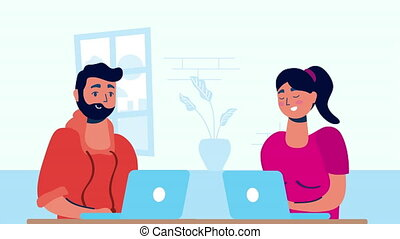 couple using laptops stay at home campaign ,4k video animated