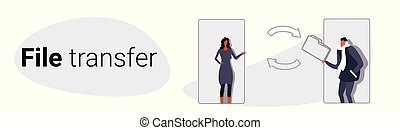 couple using mobile online application businesspeople sharing private data confidential documents file transfer concept sketch doodle horizontal banner