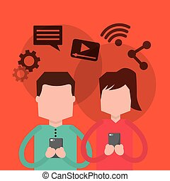 couple using smartphone social media icons
