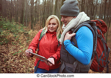 Couple using wireless technology in the forest