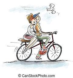 couple, vélo, amour