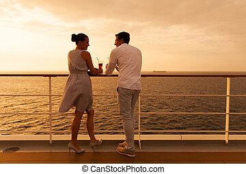 couple, vacances, jeune, croisière