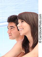 couple, vacances, jeune, ensemble