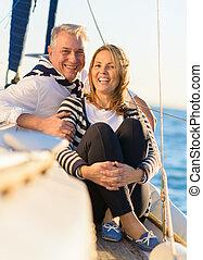 couple, vacances, mûrir, heureux