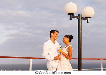couple, vacances, nouveau marié, croisière